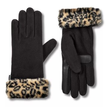 Women's isotoner SmartDRI Lined Fleece Gloves with Faux Fur Cuff