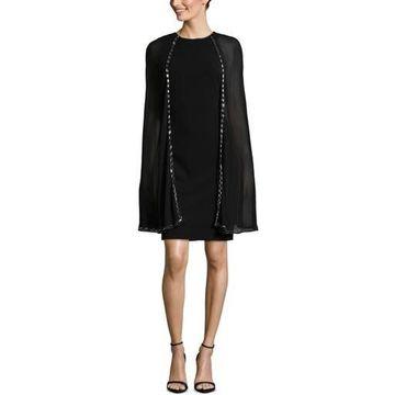Betsy & Adam Womens Short Beaded Sheath Dress