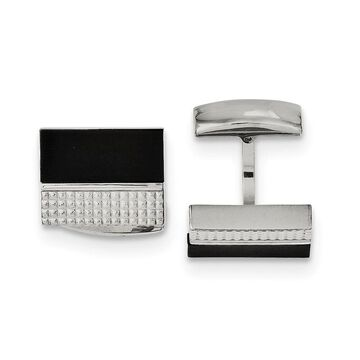 Chisel Stainless Steel Black Agate and Textured Men's Cuff Links (Black - White - White)