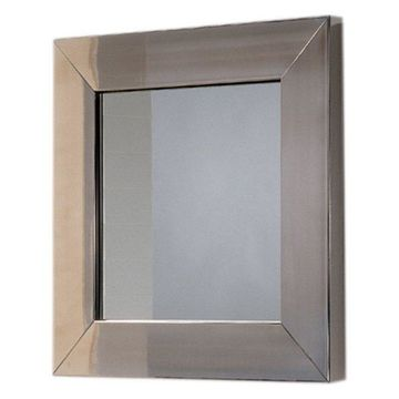 New Generation Square Mirror With Stainless Steel Frame, Matte Stainless Steel