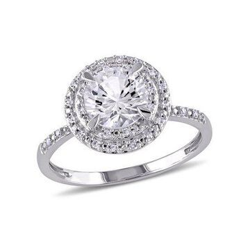1-5/8 Carat T.G.W. Created White Sapphire and Diamond 10kt White Gold Double Halo Ring