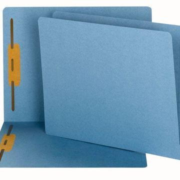 Smead End-Tab Fastener Folders, Letter Size, 100% Recycled, Blue, Pack Of 50