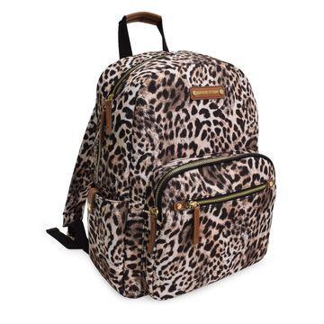 ADRIENNE VITTADINI Brown Leopard Print Vintage Backpack Lightweight Nylon