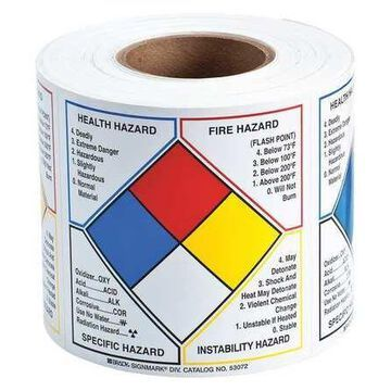 BRADY 53071 Label,Paper Label,6in.Hx6in.W,500 Labels