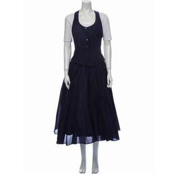 Pleated Accents Skirt Set Blue