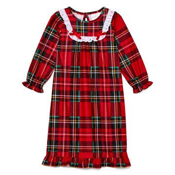 Weatherproof Vintage Girls' Nightgowns RED - Red & Green Plaid Ruffle-Hem Nightgown - Toddler