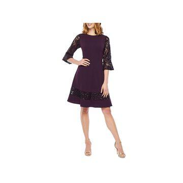 R & M Richards-Petite 3/4 Sleeve Fit & Flare Dress