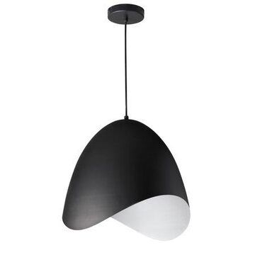 Dainolite 1 Light Steel Pendant, Black Finish
