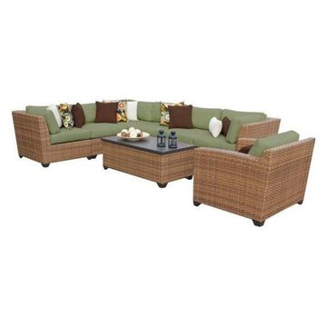 TK Classics Laguna 8-Piece Outdoor Wicker Sofa Set, Cilantro