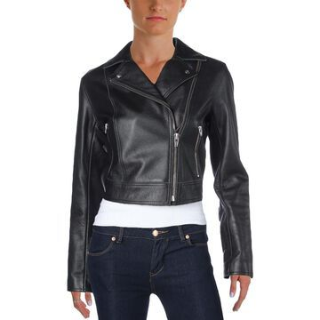 T by Alexander Wang Womens Leather Pebbled Motorcycle Jacket