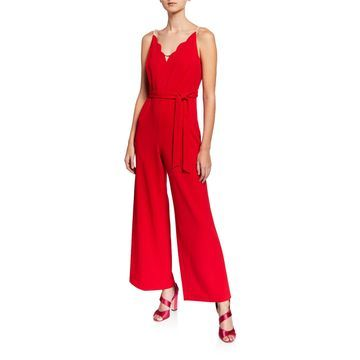 Pearly Strap V-Neck Wide-Leg Jumpsuit