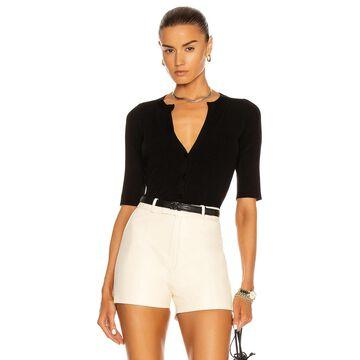 L'AGENCE Carrie Short Sleeve Cardigan in Black | FWRD