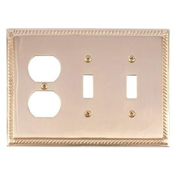 Georgian Triple, 2-Switch With 1-Outlet, Polished Brass
