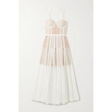 Self-Portrait - Grosgrain-trimmed Paneled Lace Midi Dress - White