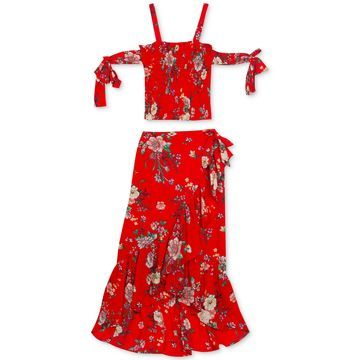Big Girls 2-Pc. Floral-Print Chiffon Top & Skirt Set