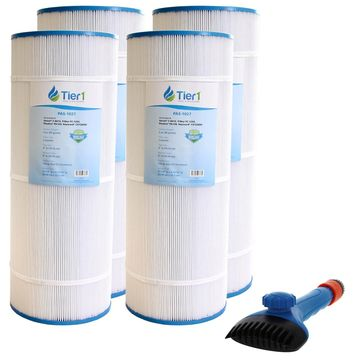 Tier1 Hayward C1200 Star-Clear Plus, Filbur FC-1293, Pleatco PA120, Unicel C-8412 Comparable Replacement Pool Filter Cartridge 4-Pack Bundle with Tier1 Wand Brush Filter Cleaner