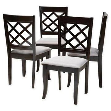 Baxton Studio Bevis Dining Chairs in Espresso/Grey (Set of 4)