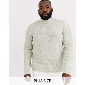 Only & Sons high neck fleck ribbed knitted sweater in cream
