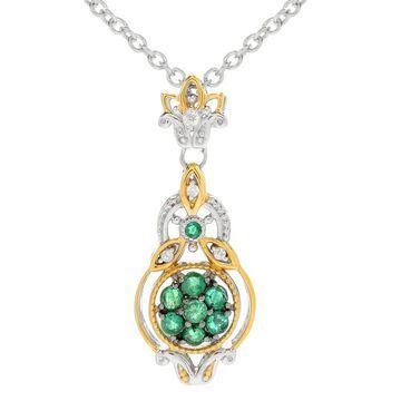 Michael Valitutti Palladium Emerald & Diamond Cluster Pendant