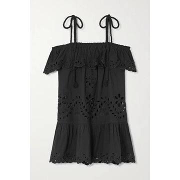 REDValentino - Off-the-shoulder Ruffled Broderie Anglaise Cotton Top - Black