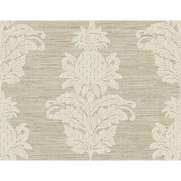 Kenneth James Pineapple Grove Brown Damask Wallpaper