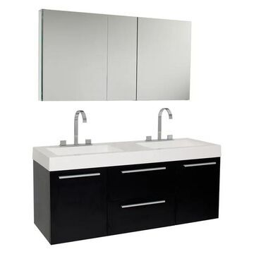 Fresca Opulento Black Double Sink Vanity w/ Medicine Cabinet