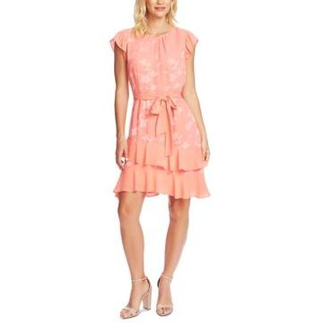 CeCe Floral-Chiffon Dress