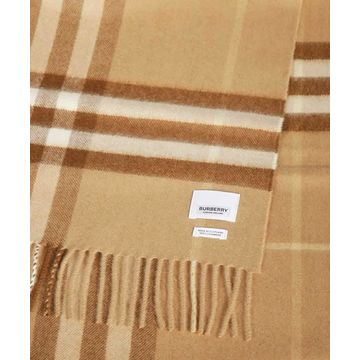 Burberry The Classic Check Cashmere Scarf- Mid Camel