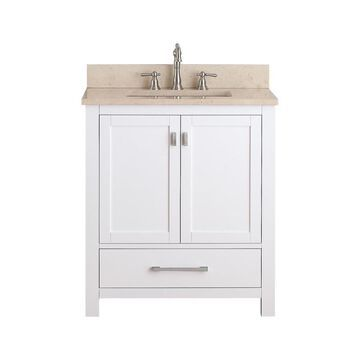 Avanity Modero 31-in White Single Sink Bathroom Vanity with Beige Natural Marble Top