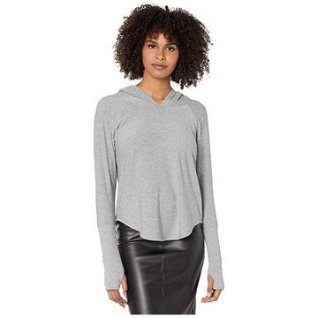 Chaser Cozy Knit Thumbhole Pullover Hoodie (Heather Grey) Women's Sweatshirt