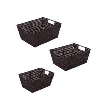 Simplify Rattan Tote Baskets Set, 3 Piece
