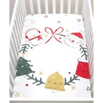 Jolly Wreath Flannel Photo Op Crib Sheet Bedding