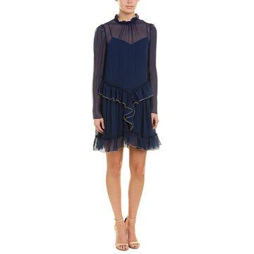 See By Chloe Chiffon Ruffle Silk Shift Dress