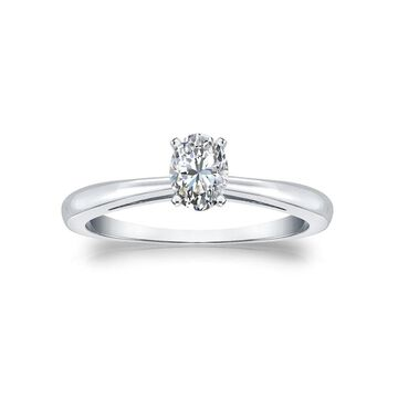 Auriya 14k Gold 1/3ctw Oval-cut Solitaire Diamond Engagement Ring
