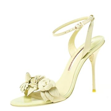 Sophia Webster Green Leather Lilico Applique Ankle Strap Sandals Size 39.5