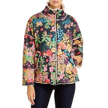 Johnny Was Camelita Floral Print Sherpa Lined Coat
