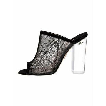 Lace Pattern Mules Black