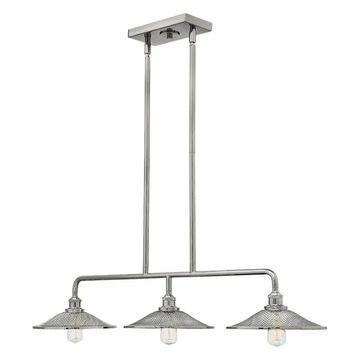 Hinkley Lighting Rigby 3 Light Chandelier Stem Hung Linear, Nickel - 4