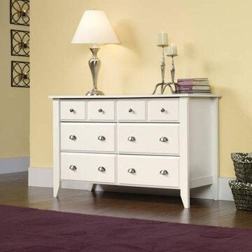 Sauder Shoal Creek 6-Drawer Dresser, Soft White finish