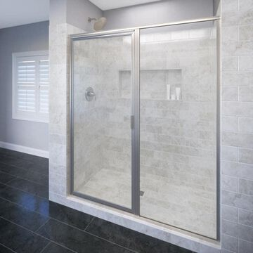 Basco Deluxe 72.125-in H x 57-in to 58-in W Framed Hinged Brushed Nickel Shower Door (Clear Glass) | 735A-58XPBN
