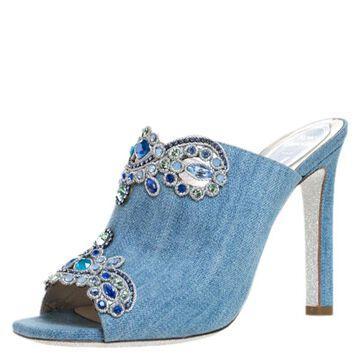 Rene Caovilla Blue Denim Crystal Embellished Slides Size 37.5