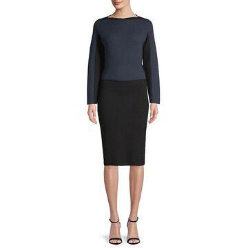 Alaia Womens Color-Block Wool-Blend Midi Dress