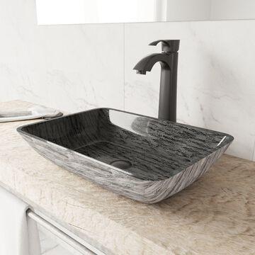 VIGO Titanium Glass Vessel Bathroom Sink and Otis Vessel Faucet Set