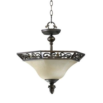 Quorum International 2831-16 2 Light Dual Mount Ceiling Fixture with Amber Scavo Glass Shade from the Marcela Collection Oiled Bronze Indoor Lighting
