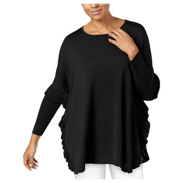 NY Collection Womens Poncho Sweater Ruffled Wide Neck