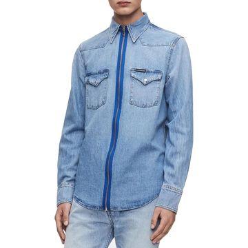 Calvin Klein Jeans Mens Foundation Western Shirt Denim Zip-Up