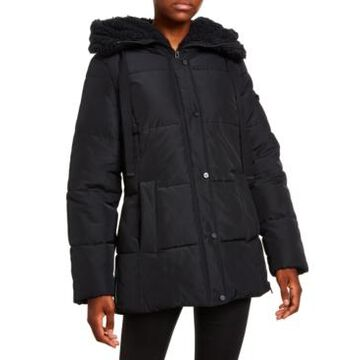 Madden Girl Juniors' Faux-Fur Lined Hooded Puffer Coat