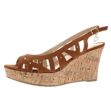 Thalia Sodi Womens Ebbie Faux Leather Studded Wedge Sandals
