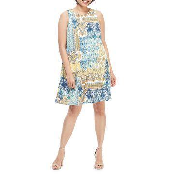 Abstract Sleeveless Shift Dress