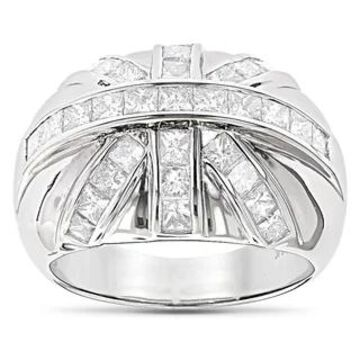 Luxurman 14k Gold Men's 2 1/4ct TDW Princess-cut Diamond Ring (G-H, SI1-SI2) (White - 7)